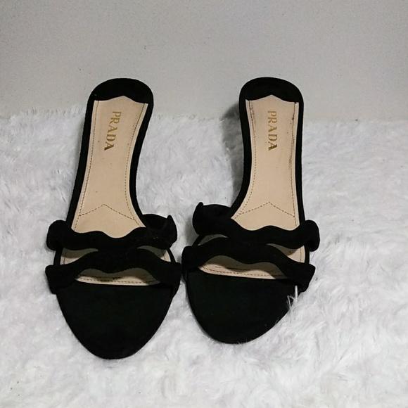 535a11726 Prada Shoes - PRADA Black Slip-On Leather Suede Dress Sandals 41